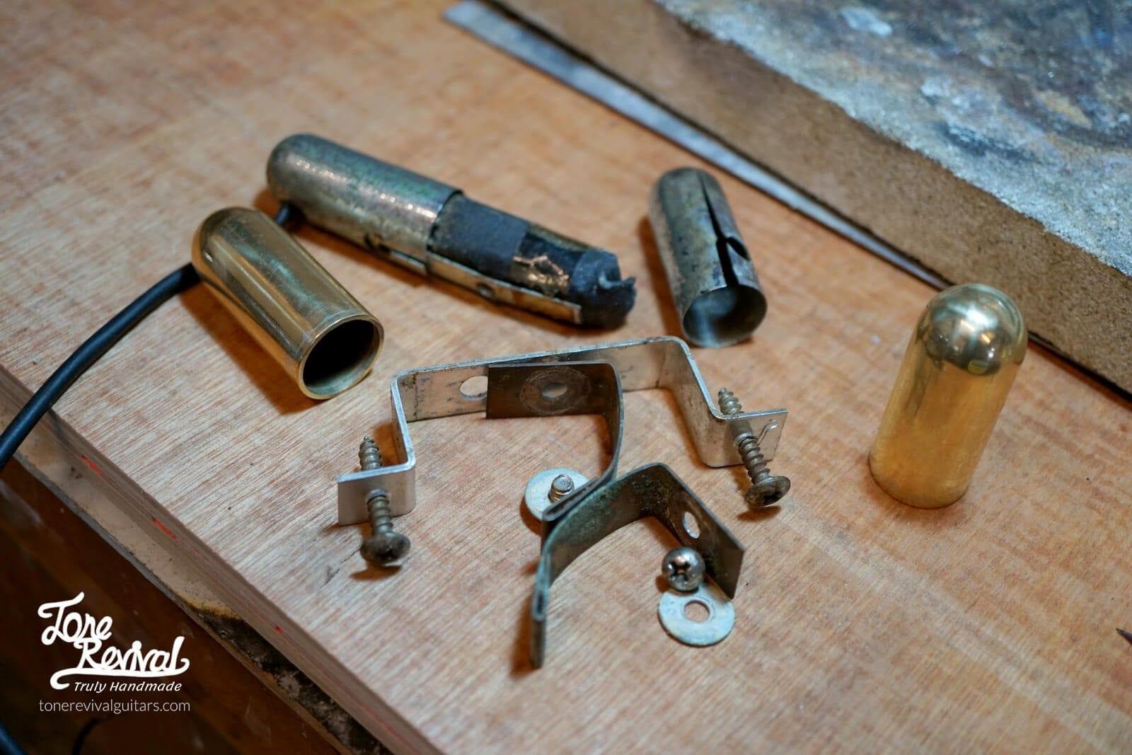 gear look what i found under the pickguard of a junker. Black Bedroom Furniture Sets. Home Design Ideas