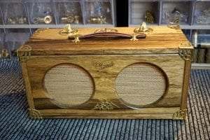 handmade guitar amp with brass trimmings