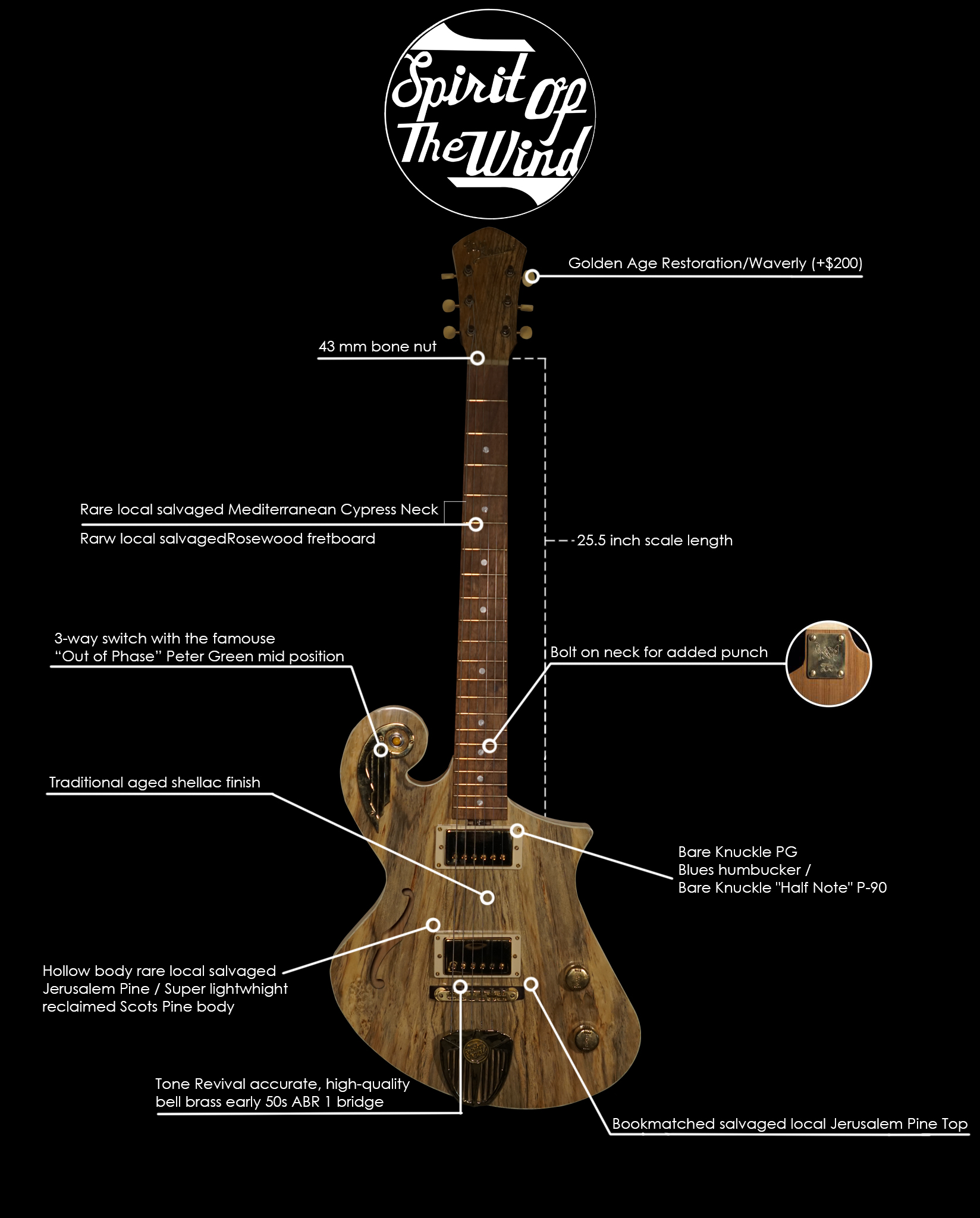 Handmade Guitar made from Jerusalem Pine |Guitar Specs | - Spirit of the Wind by Tone Revival Guitars