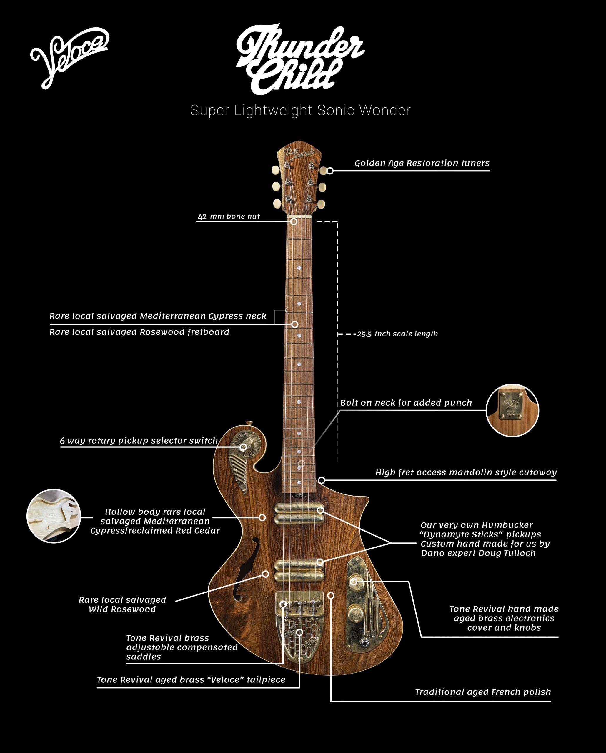 Handmade Guitar - Wild Rosewood -Thunder Child Veloce - Brass hardware Handmade Guitar - Wild Rosewood -Thunder Child Veloce - Guitar Specs