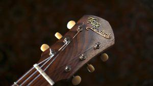custom guitar - Rare Salvaged Judean Desert Acacia Thunderchild Veloce - Wild Rosewood headstock